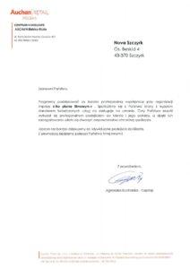 list referencyjny od Auchan Retail Polska