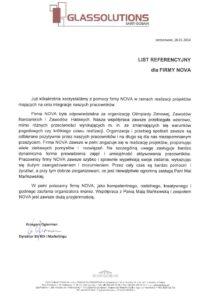 list referencyjny od GLASSOLUTIONS