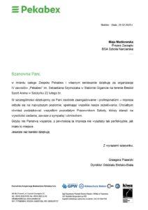 list referencyjny od PEKABEX