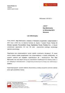 list referencyjny od Poczty Polskiej