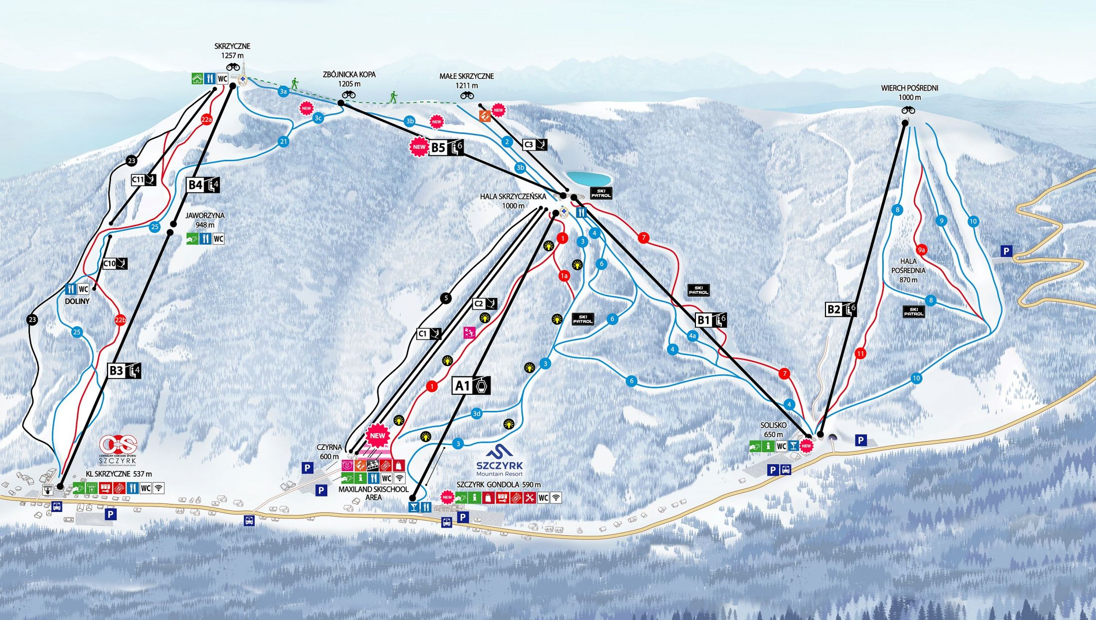 trasy narciarskie szczyrk mountain resort w szczyrku duza mapa